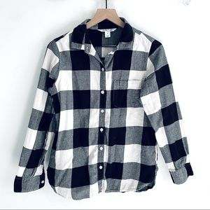 Old Navy White & Black Buffalo Plaid Flannel